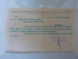 """Ricevuta """"ESATTORIA TESORERIA CONSORZIALE DI S. GIORGIO NOGARO"""" 1934 - Italia"""