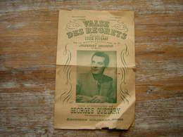PARTITION VALSE DES REGRETS  MELODIE DE LOUIS POTERAT SUR LA VALSE EN LA DE JOHANNES BRAHMS  CREEE PAR GEORGES GUETARY - Partitions Musicales Anciennes
