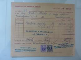 """Fattura """"MONTECATINI Stabilimento Di Pontecagnano ( Salerno )"""" 1942 - Italia"""