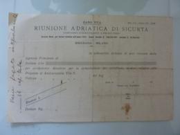 """Quietanza """"RIUNIONE ADRIATICA DI SICURTA' Direzione Milano"""" - Italia"""