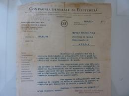 """Lettera Commerciale """"COMPAGNIA GENERALE DI ELETTRICITA' """" 1934 - Italia"""