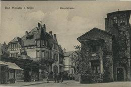 Bad Münster Am Stein. Hauptstrasse. Seltene AK S/w. Gel. 1912. Straßenpartie, Gebäudeansichten, Konditorei, Vi - Ansichtskarten