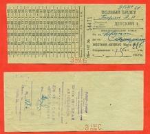 Uzbekistan 1968 (ex-USSR). Bus Ticket Jizzak-Samarkand. Children's. - Bus