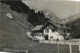 Engelberg. Drahtseilbahn Engelberg - Gerschnialp. Schweiz. Seltene AK S/w. Gebäudeansicht, Seilbahn, Gebirgsku - Ansichtskarten
