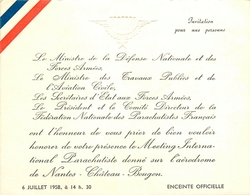 Bouguenais - Nantes Chateau Bougon - Meeting Aérien De Parachutisme Sur L'aérodrome - Ancien Carton D'invitation - Bouguenais