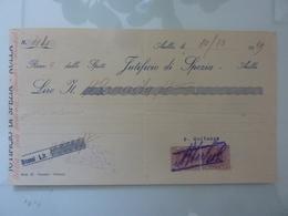 "Ricevuta ""JUTIFICIO DI SPEZIA - AULLA"" 1929 - Italia"