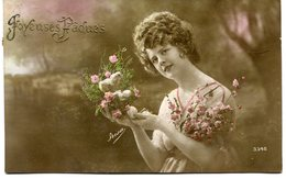 CPA - Carte Postale - Fantaisie - Joyeuses Pâques - Femme - Fleurs - 1919 (M7828) - Pâques
