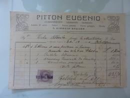 """Ricevuta """"PITTON EUGENIO Ferramenta, Legnami, Cementi S. GIORGIO NOGARO"""" 1924 - Italia"""