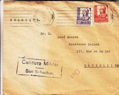 Espagne - Lettre De 1937 ° - Exp Vers Bruxelles - Avec Cencure Militaire San Sebastian - 1931-50 Lettres