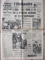 Journal L'Humanité (6 Juil 1962) L'O.A.S Tire Sur La Population - Tour De France - Axe Bonn-Paris-Bidault - Journaux - Quotidiens