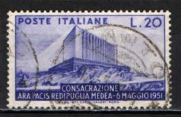 ITALIA - 1951 - CONSACRAZIONE DELL'ARA PACIS - SACRARIO DI REDIPUGLIA - A MEDEA - USATO - 6. 1946-.. Repubblica