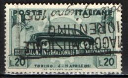ITALIA - 1951 - 33° SALONE DELL'AUTOMOBILE DI TORINO - USATO - 6. 1946-.. Repubblica