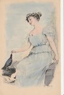 Illustrateur - HENRION - Femme Donnant à Manger Aux Pigeons - Illustrators & Photographers