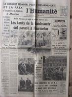 Journal L'Humanité (9 Juil 1962) Tour De France - Congrès Désarmement - Bundeswehr/Mourmelon -Roanne - Journaux - Quotidiens