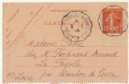 ECP 10c Semeuse O. Convoyeur La Voulte Sur Rhône à Dunières 1913 - Postmark Collection (Covers)