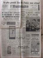 Journal L'Humanité (8 Sept 1962) Fête De L'Huma - Armée Française Et Bundeswehr - Pt Clamart- B Bardot - T Curtis - Journaux - Quotidiens