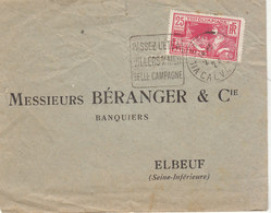 ESC 25c JO Paris 1924 O. Daguin Villers Sur Mer - Postmark Collection (Covers)