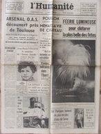 """Journal L'Humanité (11 Sept 1962) Arsenal O.A.S - Pouillon - """"Diogène""""/Cousteau - Jean Marie Vincent - Journaux - Quotidiens"""