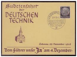 Sudetenland (007688) Propaganda, Sudetenfahrt Der Deutschen Technik, Dem Führer Unser Fa Am 4.12.1938, Mit SST 29.12.38 - Sudetenland