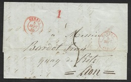 1846 - SUISSE LAC GENEVE A LYON - GENEVE FERNEY - 1843-1852 Kantonalmarken Und Bundesmarken