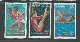 Malta 1984 Los Angeles Olympic Games Set Of 3 MNH - Malta
