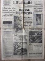 Journal L'Humanité (14 Sept 1962) Révision Constitutionnelle - Cuba - Habitants De Cluis (Indre) - Pouillon - Journaux - Quotidiens