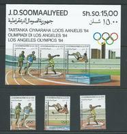 Soomaaliyeed Italian Somalia 1984 Los Angeles Olympics Set 3 & Miniature Sheet MNH - Somalia