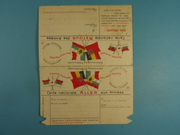Carte Nationale Aller Aux Armées Retour Aux Armées (vierge) /3/ - Marcofilia (sobres)