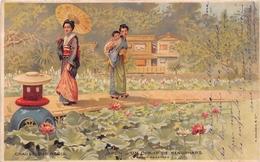 """¤¤  -  JAPON  -  Carte Publicitaire Des Chaussures """" RAOUL """"  -  Un Champ De Nénuphars - Illustrateur - Japonaises - Japon"""