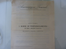 """Documento """"ASSICURAZIONI GENERALI DI TRIESTE E VENEZIA 5 BORSE DI PERFEZIONAMENTO DI LIRE 2 MILIONI CIASCUNA"""" - Italia"""
