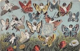 ¤¤  -  Carte Fantaisie  -  Bébés Multiples  -  Papillons   -   ¤¤ - Papillons