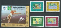 Jordan 1984 Los Angeles Olympic Games Set 4 & Imperforate Miniature Sheet MNH - Jordan