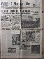 Journal L'Humanité (8 Juin 1962) Terre Brûlée à Alger - Assistance Publique - Coupe Monde Foot - G Margaritis - Journaux - Quotidiens