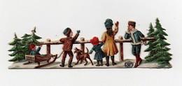 CHROMO Découpis Gaufrée Chocolat Suchard Enfants Hiver Neige Chien Sapins Traineau - Suchard