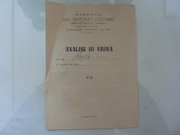 """Documento """"FARMACIA Dott. ANTONIO COSTABILE Farmacista Medico Chirurgo, Salerno  ANALISI DI URINA"""" 1948 - Manoscritti"""