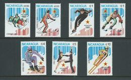 Nicaragua 1984 Sarajevo Olympic Games Set 7 MNH - Nicaragua