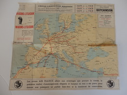 Carte Géographique Aériennes. Air France Réseau Continentale Hiver 1936-37. - Cartes Géographiques