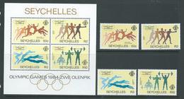 Seychelles 1984 Los Angeles 1984 Olympic Games Set 4 & Miniature Sheet MNH - Seychelles (1976-...)