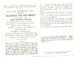 Devotie Doodsprentje Overlijden - Oudstrijder Franciscus Van Den Broeck - Hallaar 1893 - 1968 - Décès