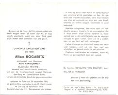 Devotie Doodsprentje Overlijden - Oudstrijder Alfons Bogaerts - Putte 1892 - Lier 1974 - Décès