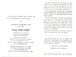 Devotie Doodsprentje Overlijden - Oudstrijder Frans Van Looy - Putte 1894 - 1974 - Décès