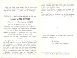 Devotie Doodsprentje Overlijden - Oudstrijder Henri Van Heyst - Poppel 1888 - 1968 - Décès