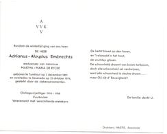 Devotie Doodsprentje Overlijden - Oudstrijder Adrianus Embrechts - Turnhout 1891 - Assenede 1979 - Décès