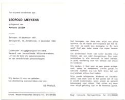 Devotie Doodsprentje Overlijden - Oudstrijder Leopold Meykens - Beringen 1897 - 1983 - Décès