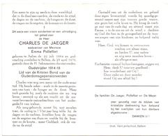 Devotie Doodsprentje Overlijden - Oudstrijder Charles De Jaeger - Aalter 1884 - Bellem 1970 - Décès