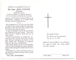 Devotie Doodsprentje Overlijden - Oudstrijder Jean Coune - St Truiden 1891 - 1973 - Décès