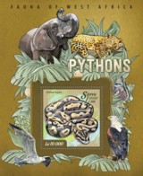 Sierra Leone 2015 Fauna  Pythons  ,snakes - Sierra Leone (1961-...)