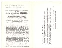 Devotie Doodsprentje Overlijden - Oudstrijder Louis Coessens - Meilegem 1891 - Oudenaarde 1971 - Décès