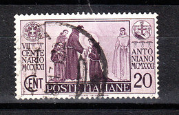 Italia   -  1931. Centenario Antoniano. 20 C. Viaggiato - Usati