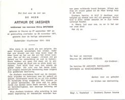 Devotie Doodsprentje Overlijden - Oudstrijder Arthur De Jaegher - Veurne 1887 - 1971 - Décès